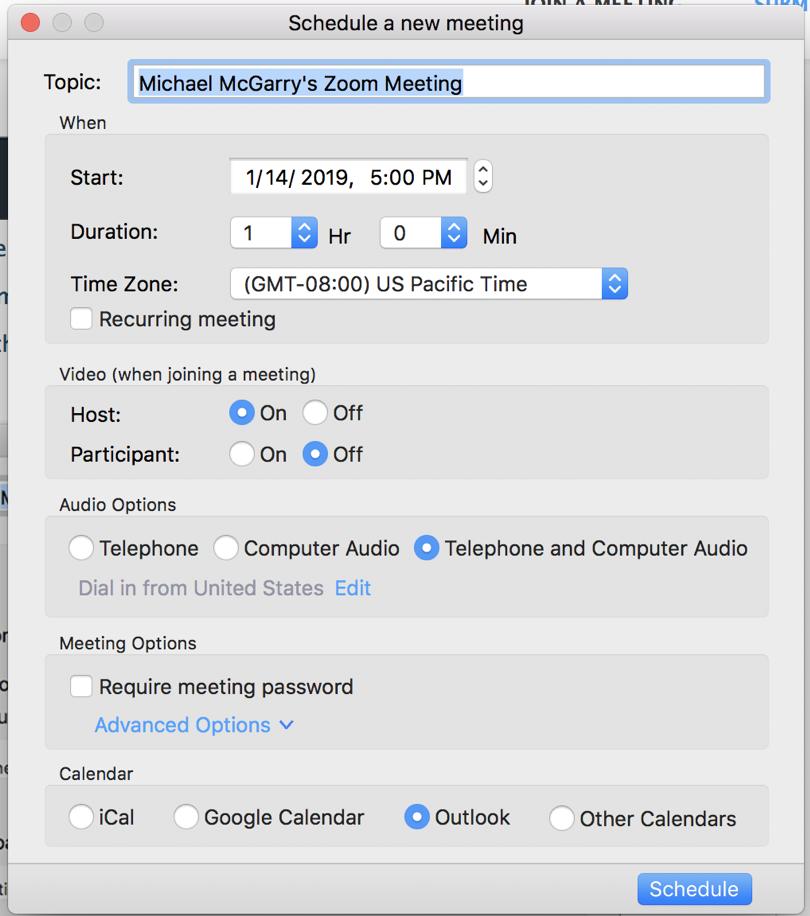 Zoom meeting settings window