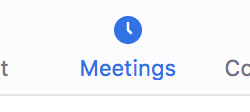 Meetings button in Zoom application