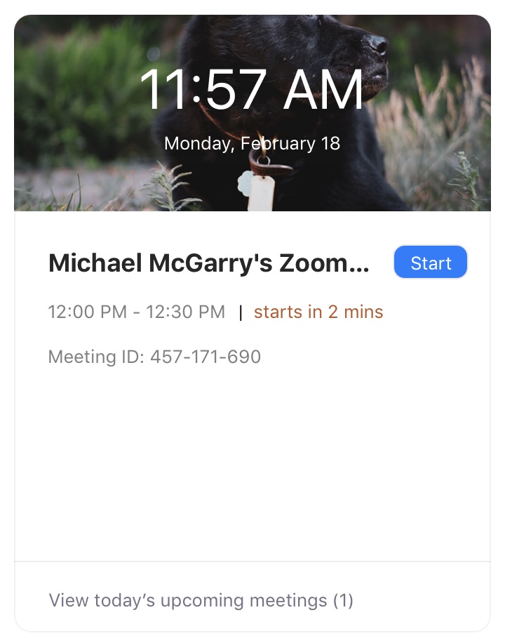 Upcoming meetings screen on Zoom application homescreen