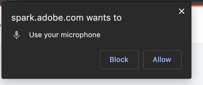Illustration of a browser pop-up showing that Adobe Spark Video is asking for permission to use the computer's microphone