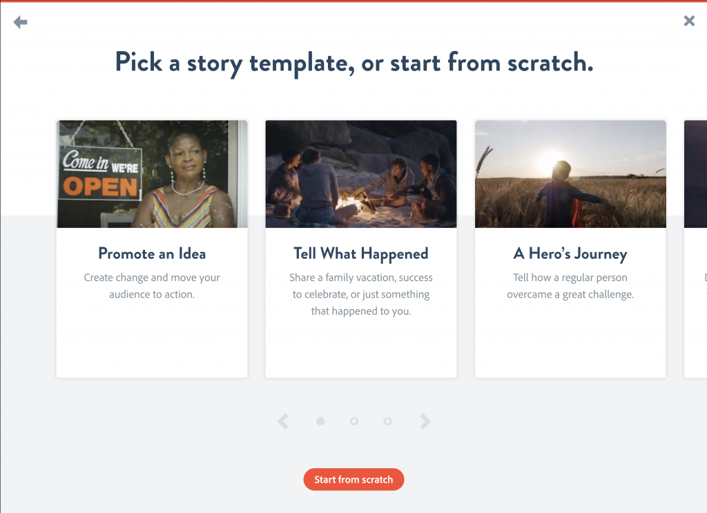 """Illustration of the Story Template Prompt page with different story structures and descriptions in title cards above the """"Start from scratch"""" button"""