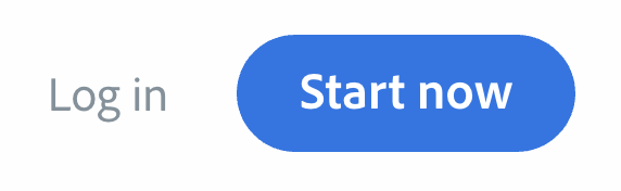 """Illustration of the """"Log in"""" and """"Start now"""" buttons as they appear in the Adobe Spark landing page"""