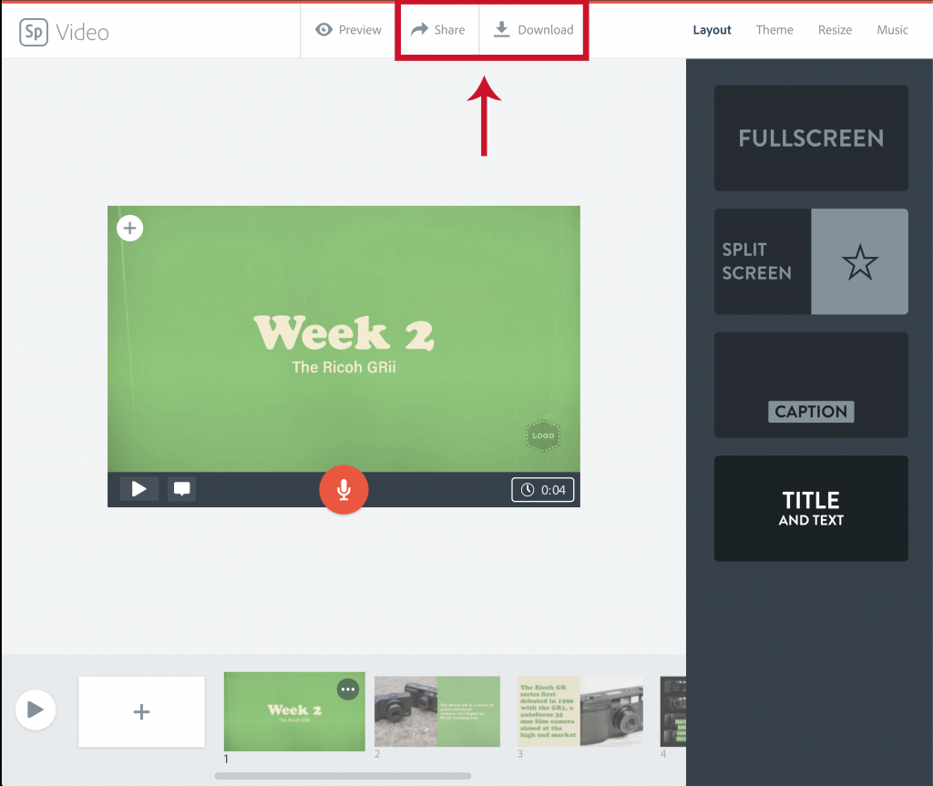 """Illustration of the location of the """"Share"""" and """"Download"""" buttons next to the Preview Button at the top of the Spark Video Editor"""