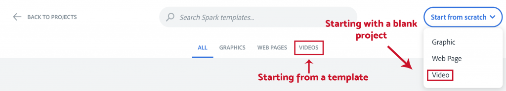 """Illustration of the projects types tabs and the """"Start from scratch"""" button at the top of the Spark Templates page."""