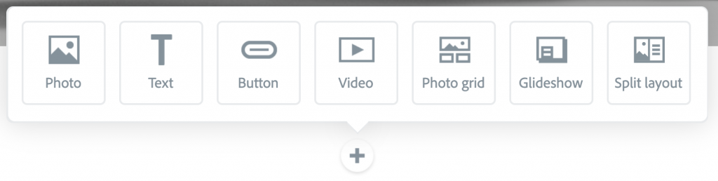 """Illustration of a """"+"""" button opened up in a new content section with the Media Menu displayed"""