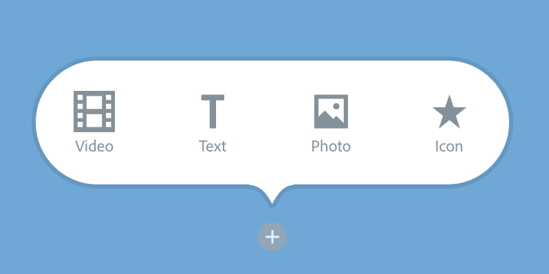 """Illustration of an activated """"plus"""" icon with the text option visible"""