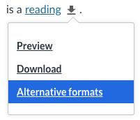 Screenshot of the Alternative Formats dropdown menu